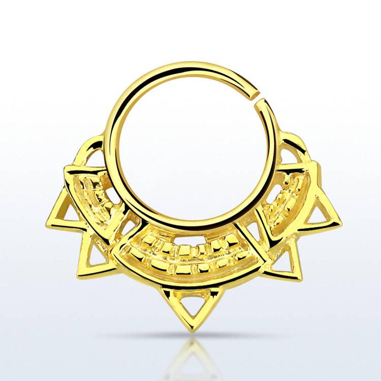 Septum piercing i guldpläterad 925 silver - Engraved Indian Design