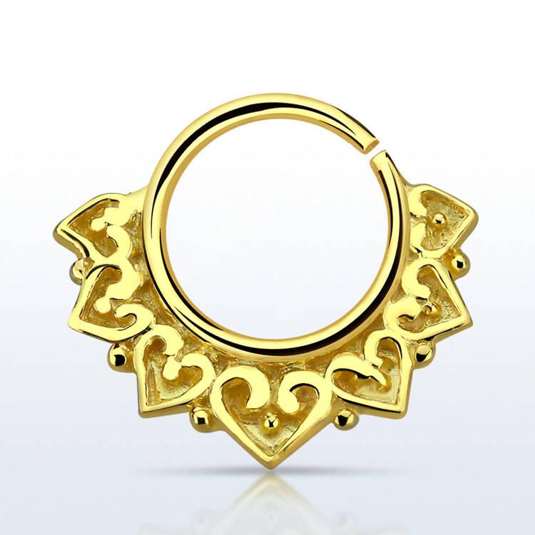 Septum piercing i guldpläterad 925 silver - Engraved Vintage Design
