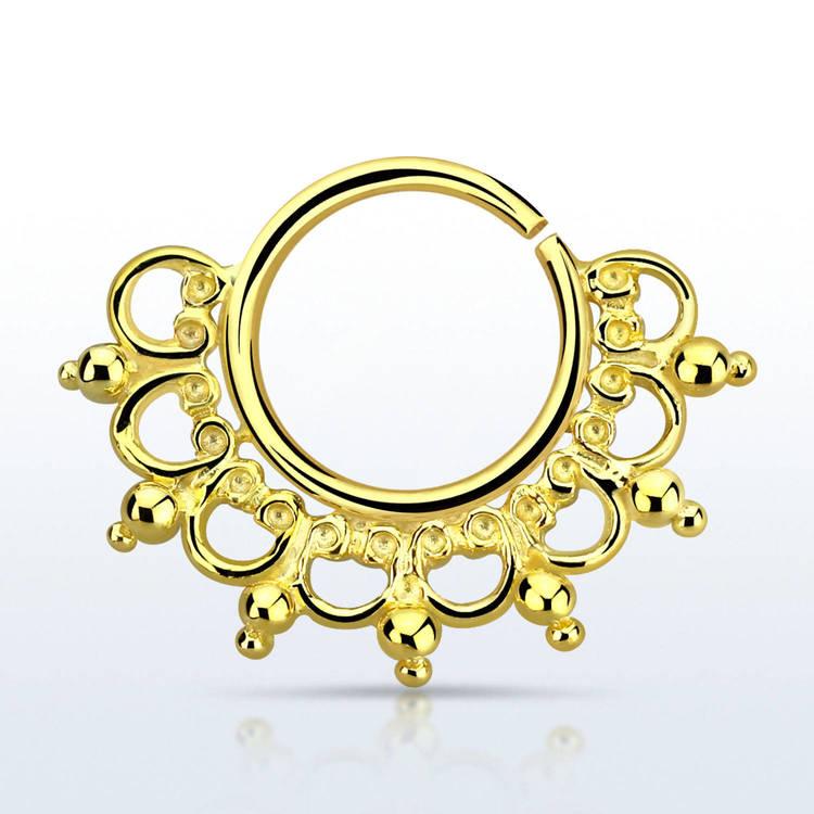 Septum piercing i guldpläterad 925 silver - Wide Engraved Design