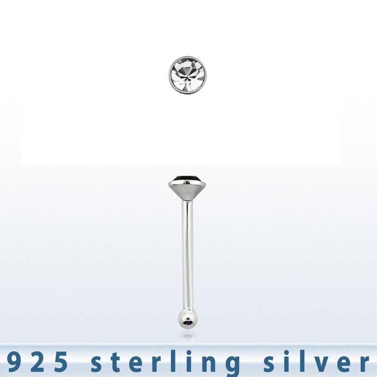 Näspin 925 Silver med 1.5mm klar crystal