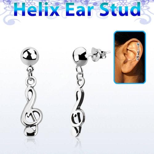 Helix Örhänge - Musiknot i 925 Silver