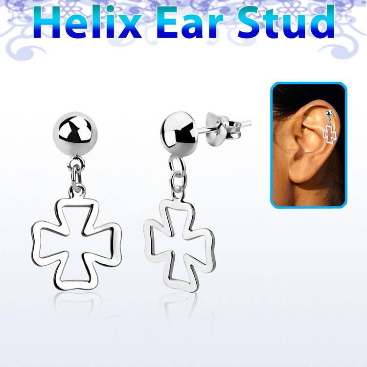 Helix Örhänge - Kors i 925 Silver
