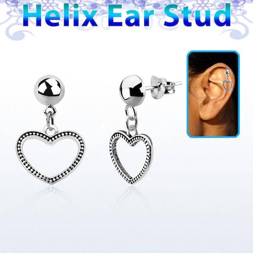 Helix Örhänge - Hjärta i 925 Silver