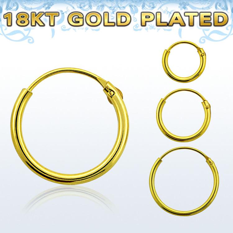 Örhänge / hoop i 18kt guldpläterad silver (par)