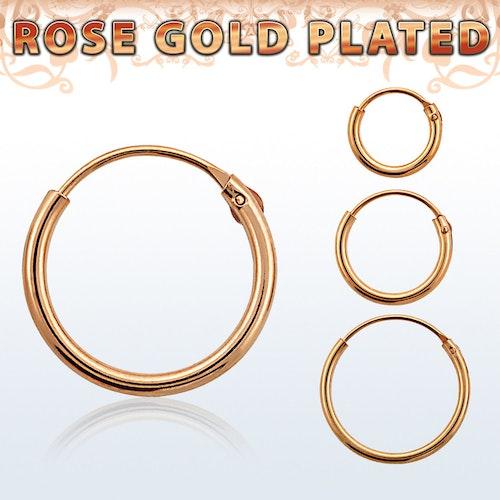 Örhänge / hoop i roséguldpläterad silver (par)