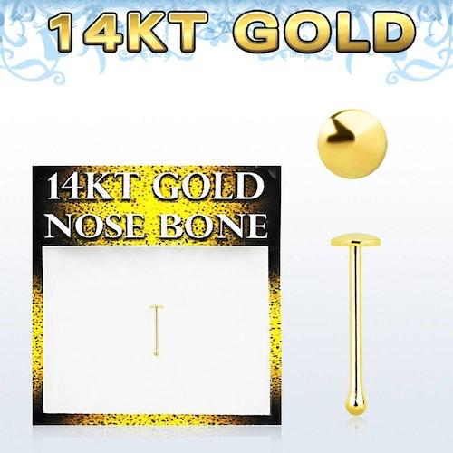 """Nässmycke """"nose bone"""" 14 karat guld med 2mm platt topp"""