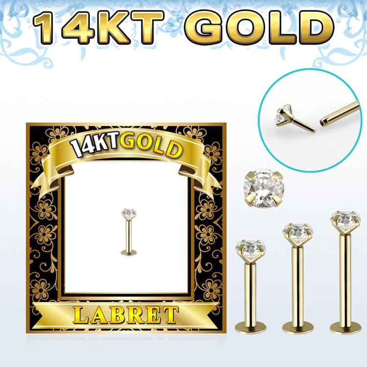Labret / Monroe i 14 karat guld med 3mm CZ Sten