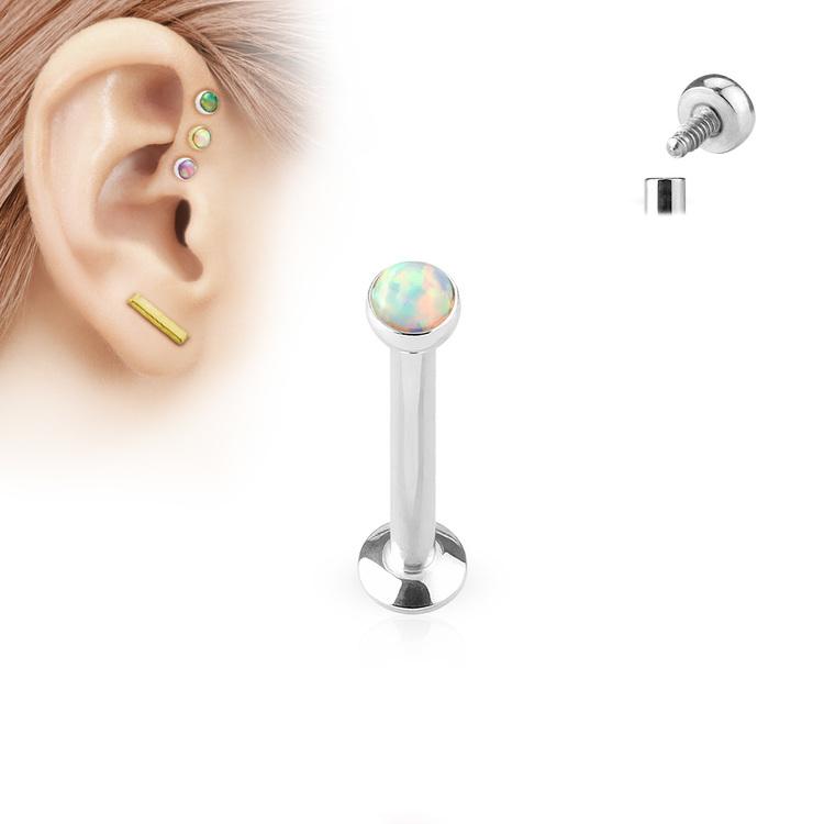 Labret / Monroe 1.2mm med platt 3mm opal