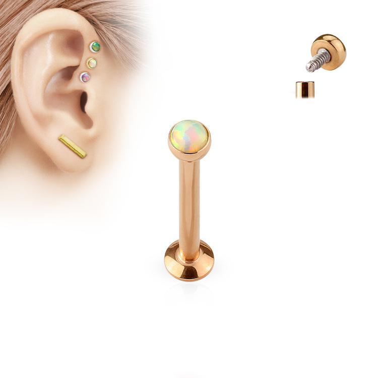 PVD Pläterad Labret / Monroe med platt 3mm vit opal