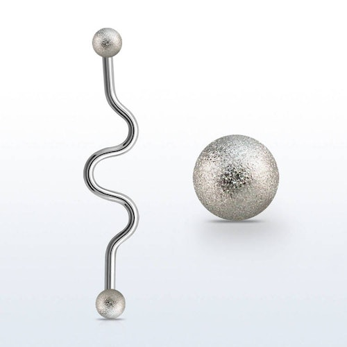 Zig-Zag Industrial Barbell 1.6mm med frostade 4mm kulor