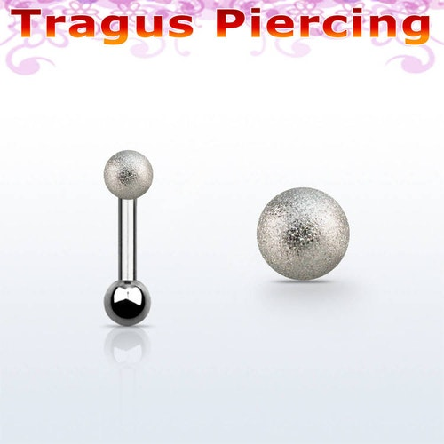 Tragus / Helix barbell 1.2mm med 3mm frostad kula