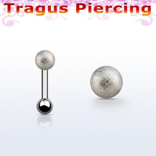 Tragus / Helix barbell 1.2mm med 4mm frostad kula