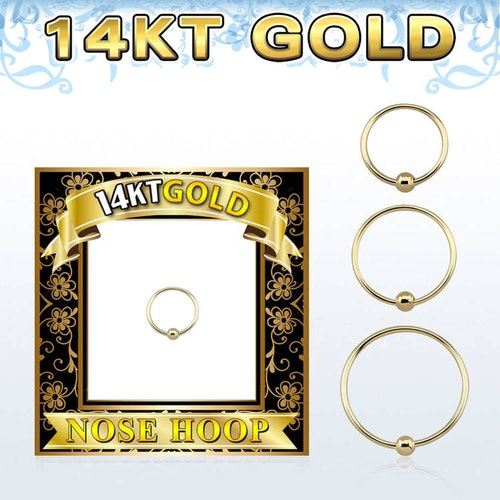 Näsring / nose hoop 0.6mm med kula 14 karat guld