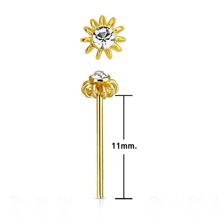 """Nässmycke """"böj själv"""" guldpläterad silver 0.6mm med blomma och crystal"""