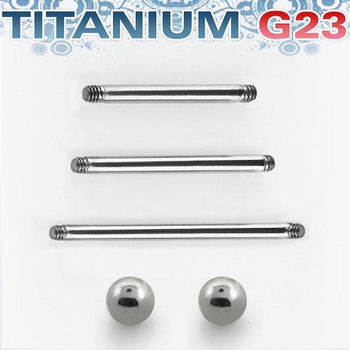 Titanium barbell 1.6mm med 6mm kulor - läksmycke för tungpiercing