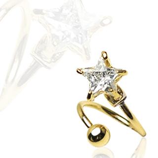 Cirkulär twister ring guldpläterad med stjärnformad 7mm CZ