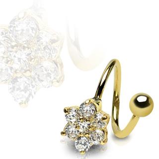 Cirkulär twister ring guldpläterad med crystalblomma