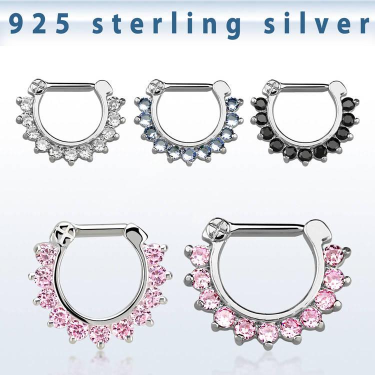 Septum clicker i 925-silver - CZ stenar 1.6mm