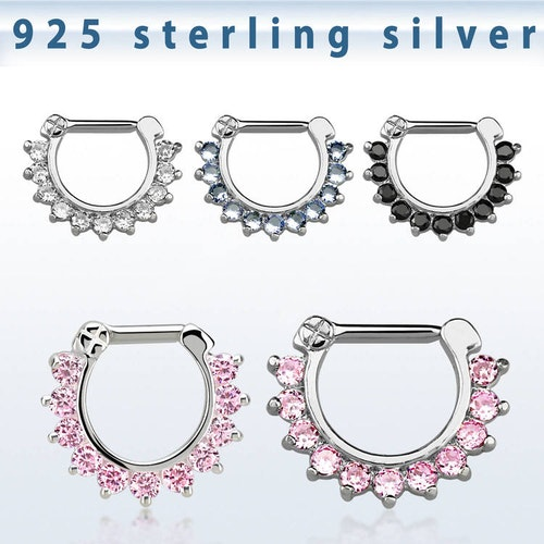 Septum clicker i 925-silver - CZ stenar 1.6mm