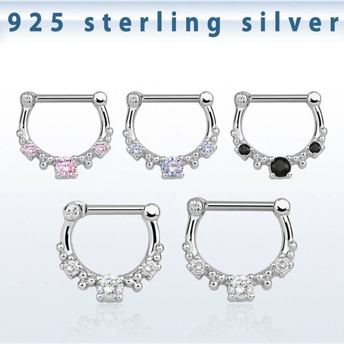 Septum clicker i 925-silver - CZ stenar 1.2mm