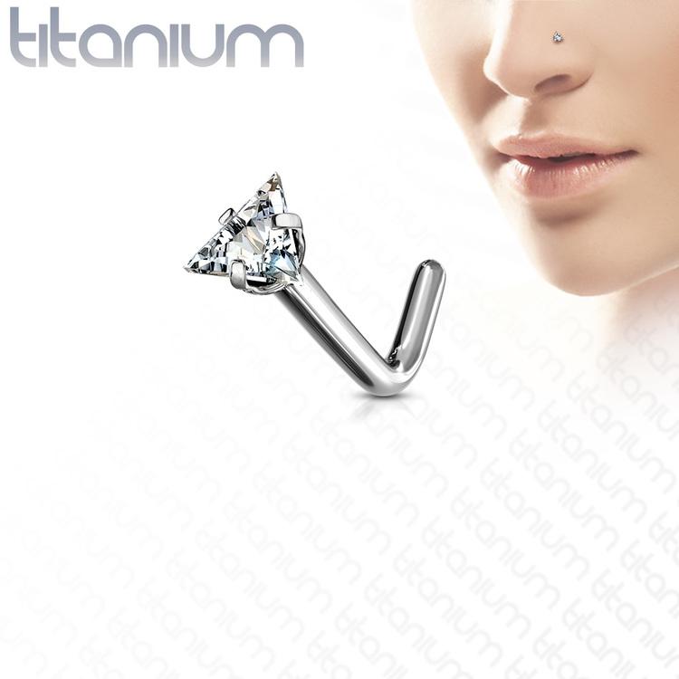 """Titanium Nässmycke """"L-böjd"""" med 3mm triangelformad cubic zirconia"""