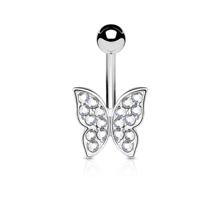 Navelsmycke - fjäril med crystals