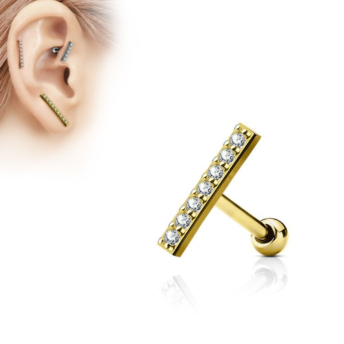 Tragus barbell 1.2mm med 12mm crystalklädd bar