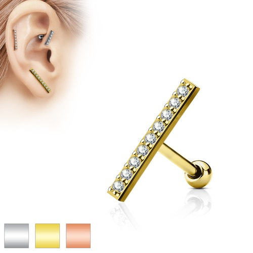 Tragus barbell 1.2mm med 16mm crystalklädd bar