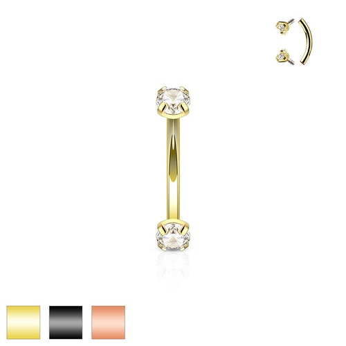 PVD-pläterad banana med 3mm prong-set cz