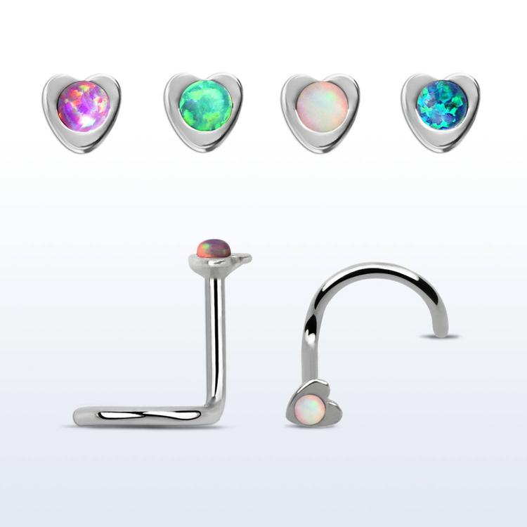 """Nässmycke """"Nose screw"""" 0.8mm hjärta med 1.5mm opalit"""