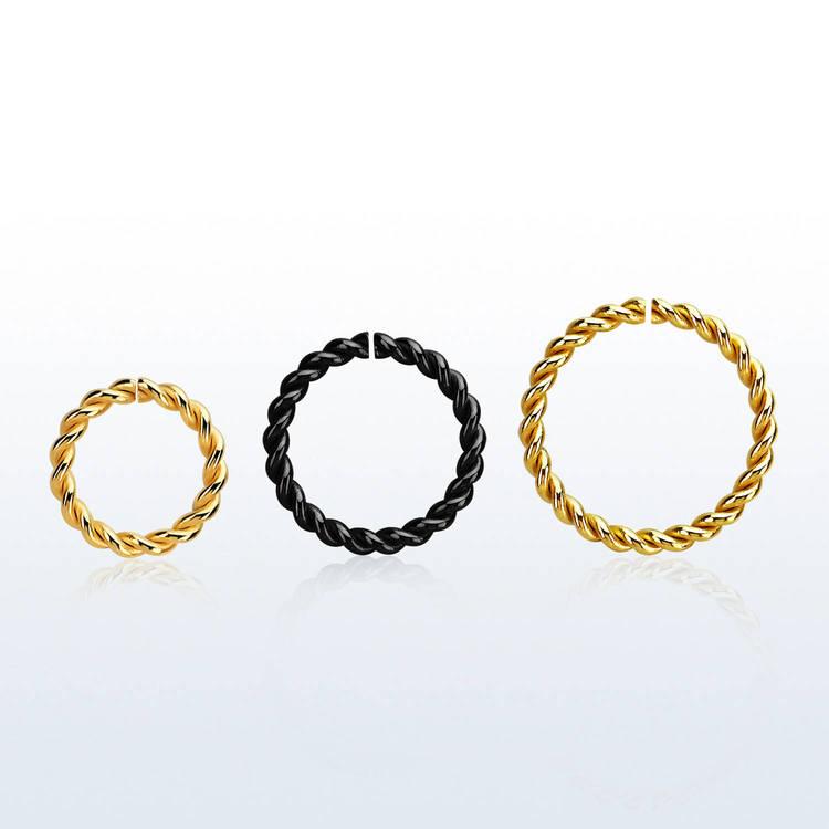 PVD-Pläterad sömlös ring twistad design 1.2mm