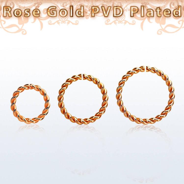 PVD-Pläterad roséguld sömlös ring twistad design 1.2mm