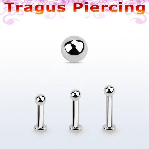 Tragus labret 1.2mm med extra liten platta och 2.5mm kula