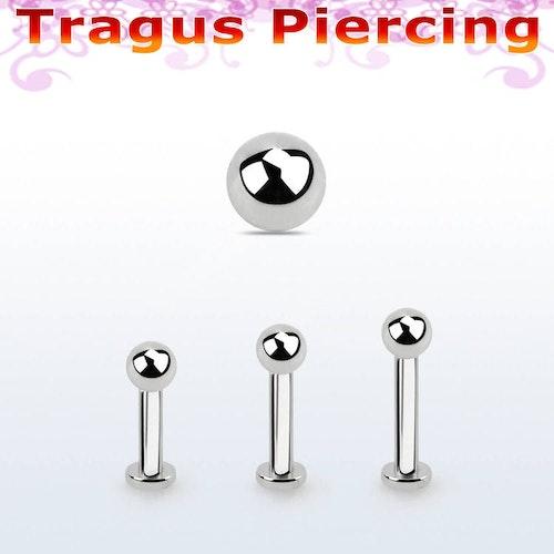 Tragus labret 1.2mm med extra liten platta och 3mm kula