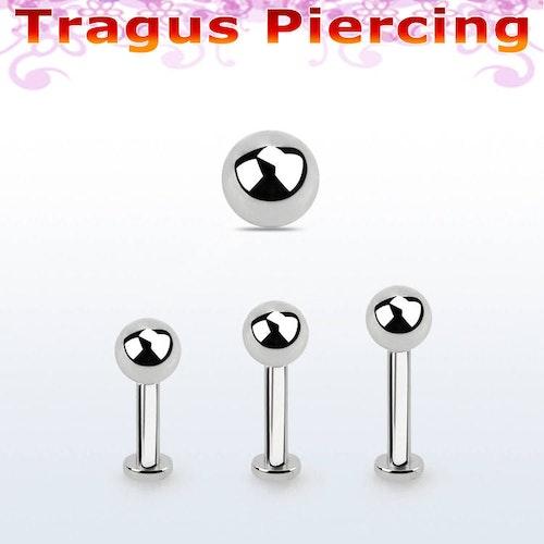 Tragus labret 1.2mm med extra liten platta och 4mm kula
