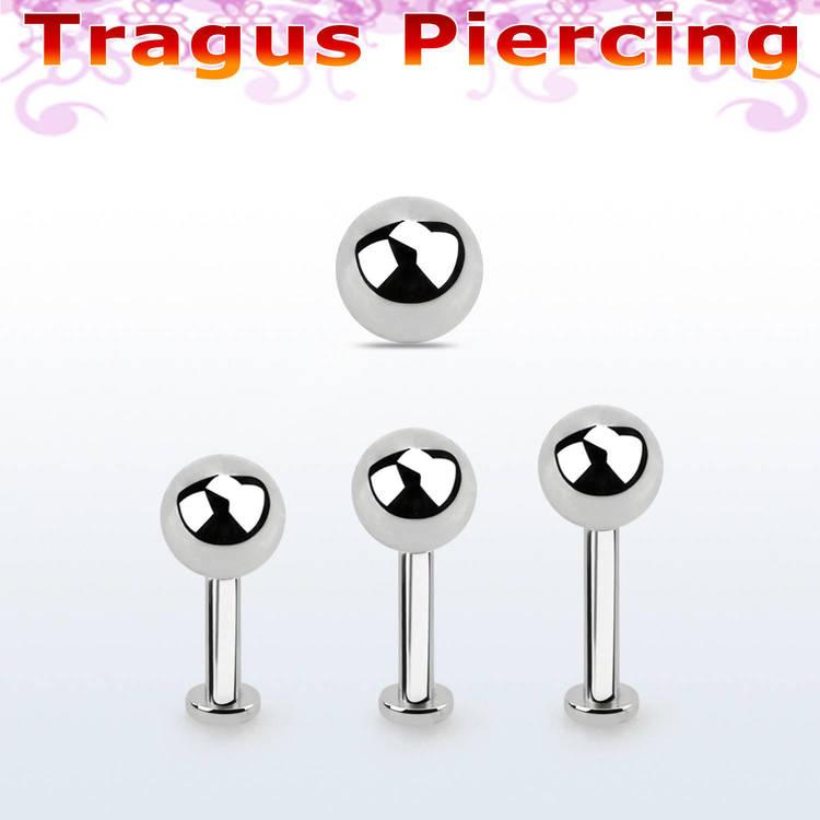 Tragus labret 1.2mm med extra liten platta och 5mm kula