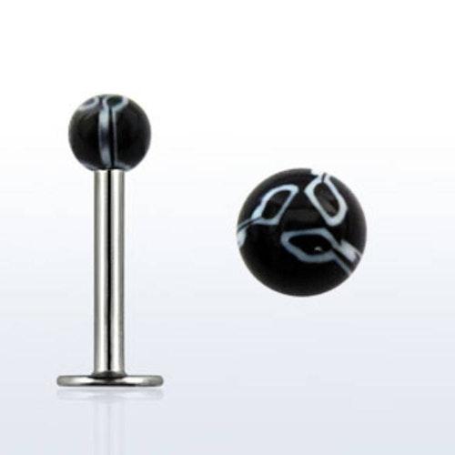 Labret / Monroe 1.2mm med marmormönstrad 3mm kula