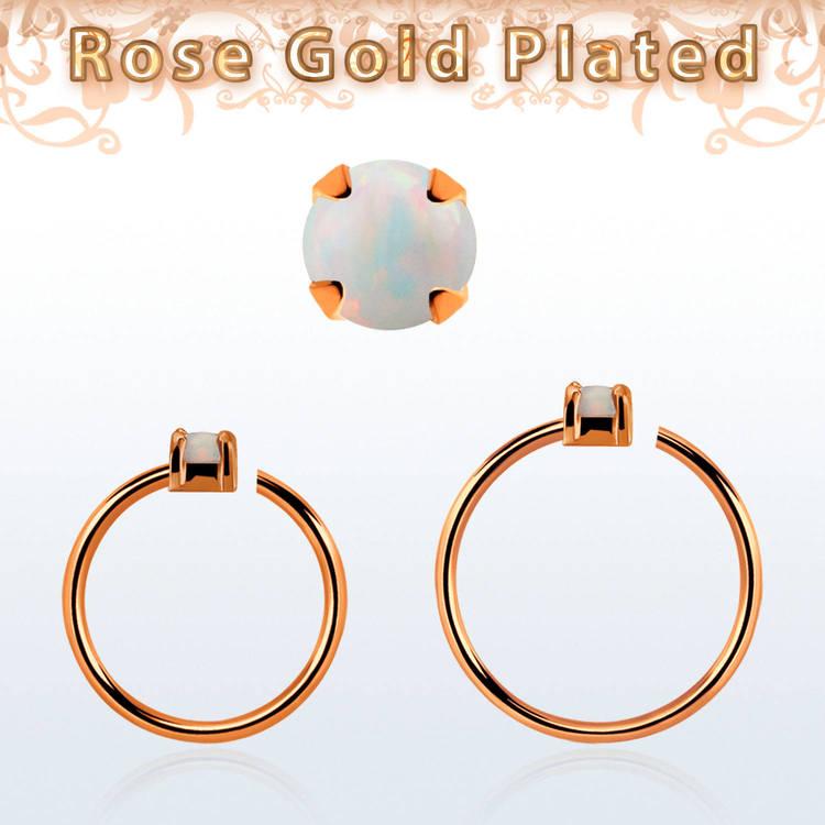 Roséguldpläterad sömlös ring i silver med 1.5mm opalit
