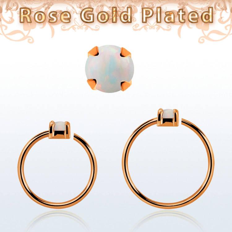 Roséguldpläterad sömlös ring i silver med 2mm opalit