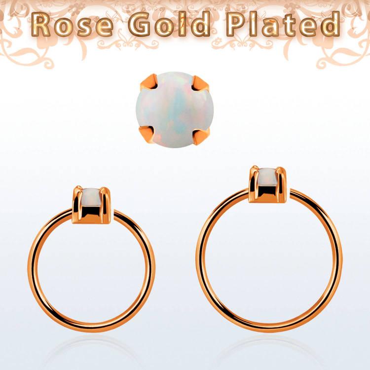 Roséguldpläterad sömlös ring i silver med 2.5mm opalit