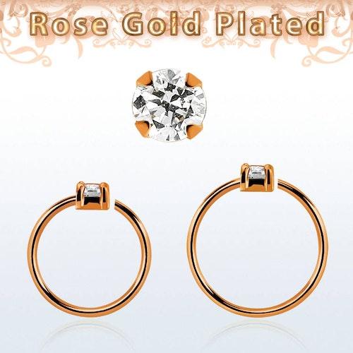 Roséguldpläterad sömlös ring i silver med 2mm CZ