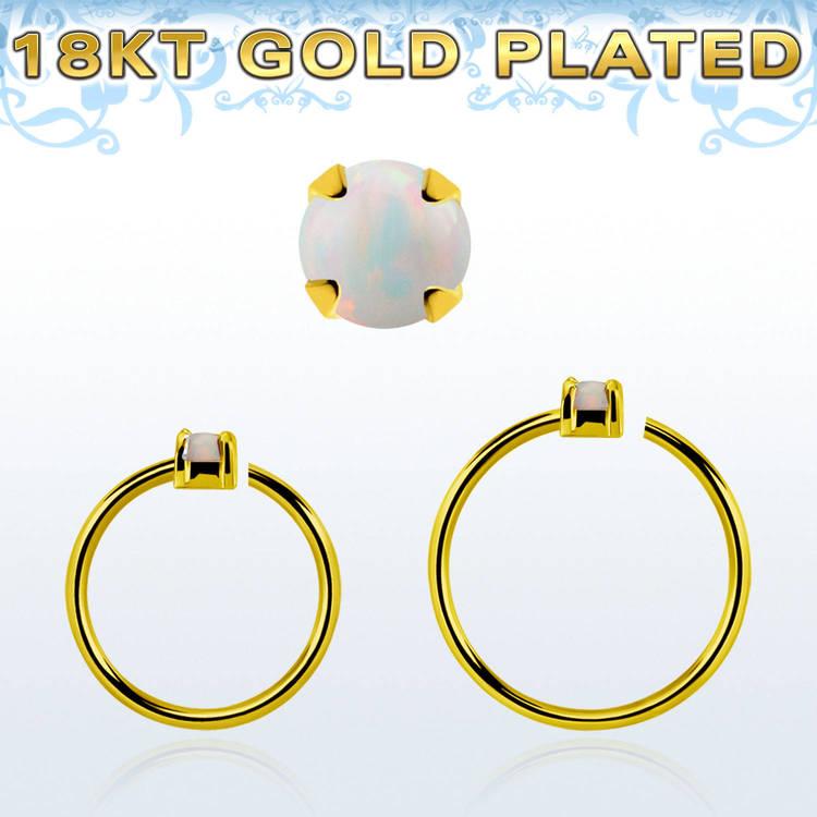 Guldpläterad sömlös ring i silver med 1.5mm opalit