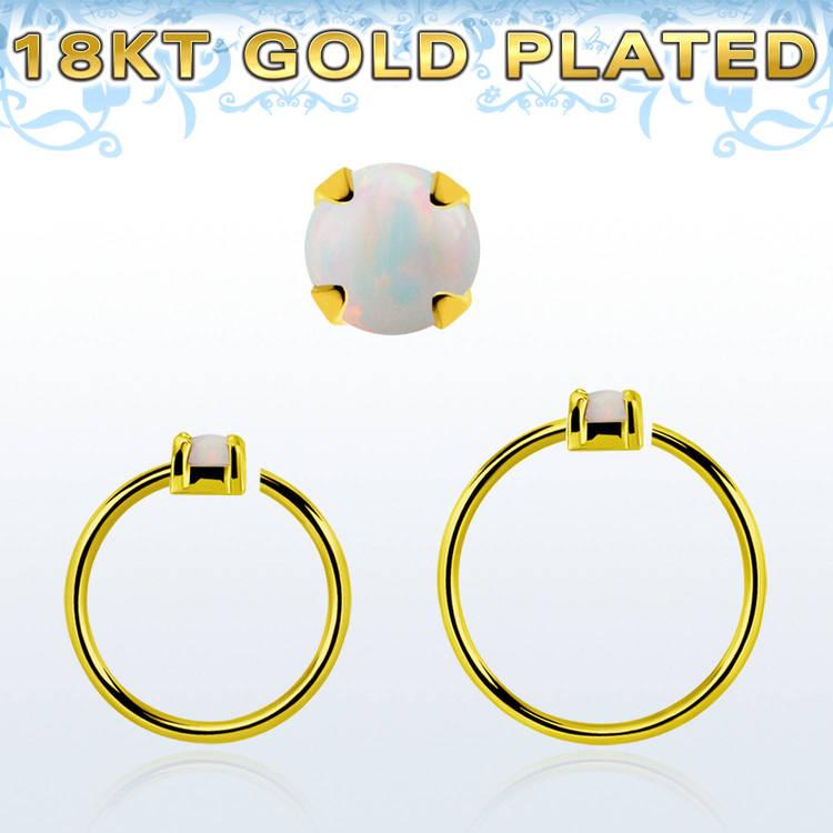 Guldpläterad sömlös ring i silver med 2mm opalit