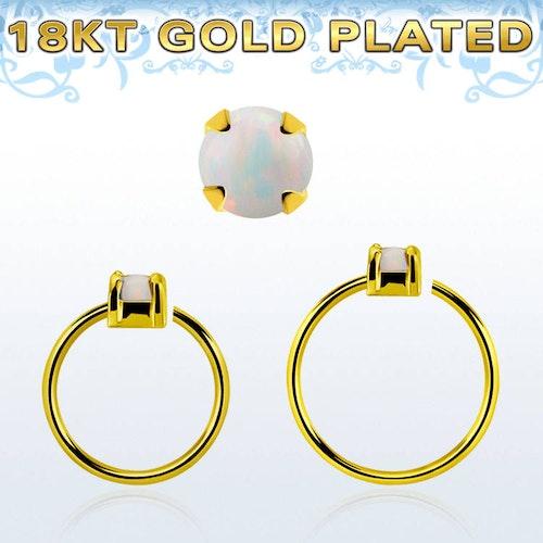 Guldpläterad sömlös ring i silver med 2.5mm opalit