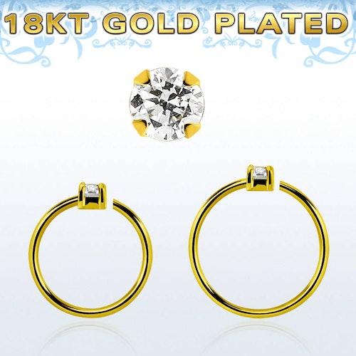 Guldpläterad sömlös ring i silver med 1.5mm CZ