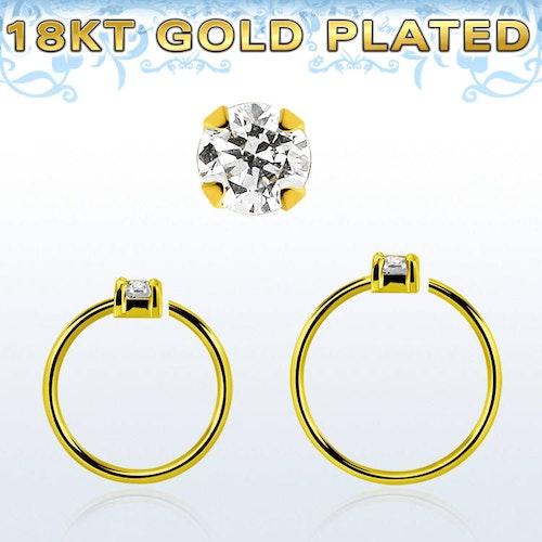 Guldpläterad sömlös ring i silver med 2mm CZ