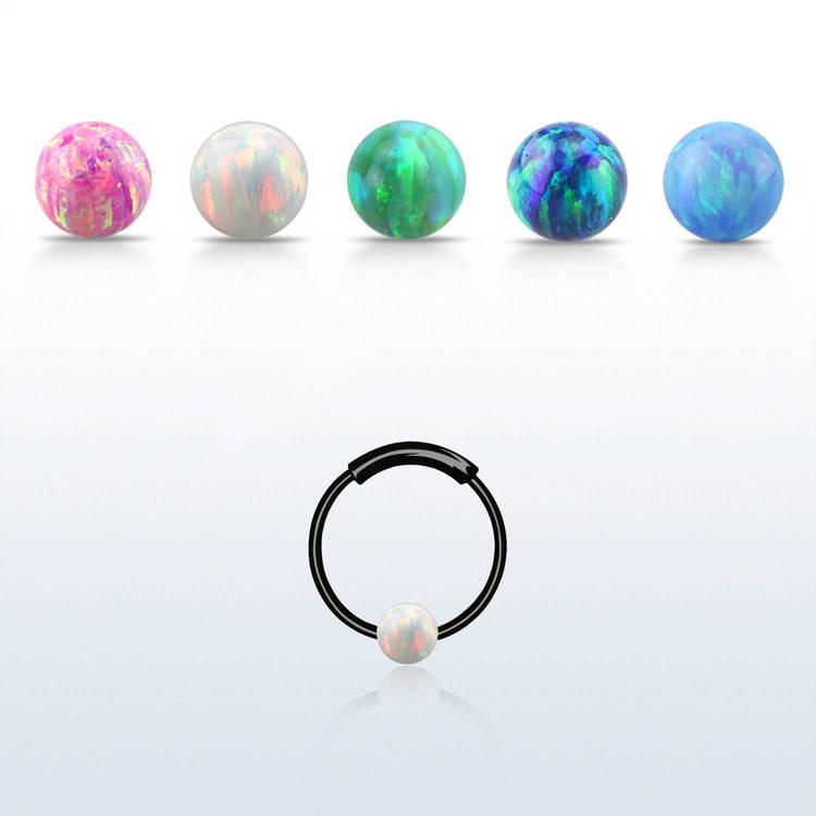 Svartpläterad nose hoop 925 silver 3mm opal