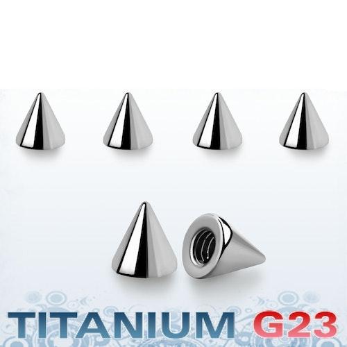 Titanium kon 3mm med 1.6mm gäng (lös del)