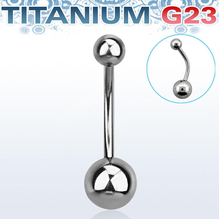 Titanium Navelsmycke / banana med 5 och 8mm kula