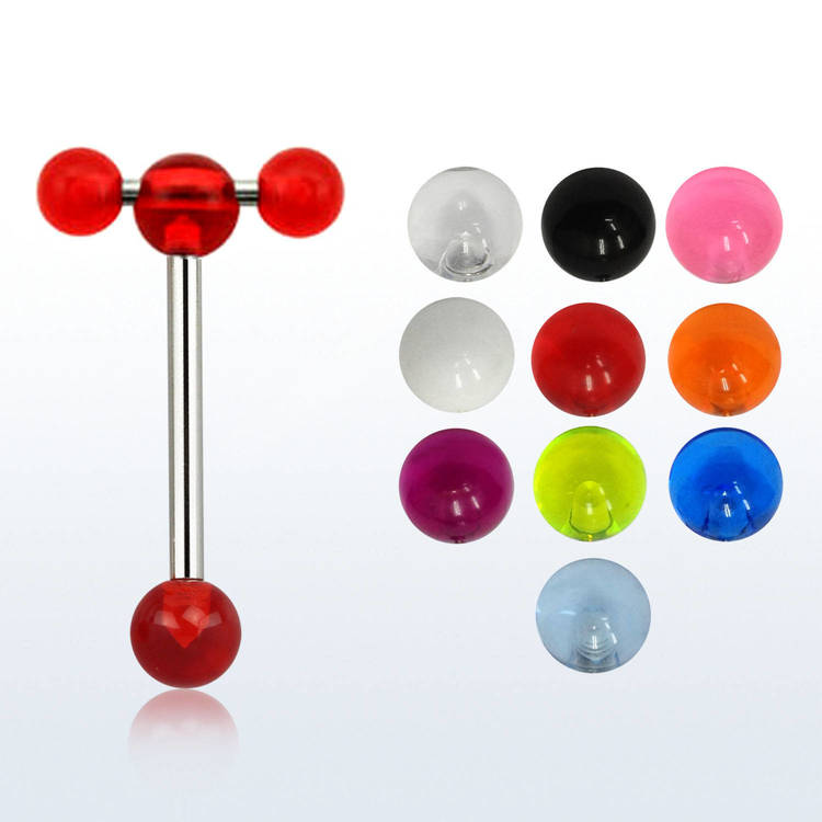 Tungstav / barbell med spinnerbarbell och akrylkulor